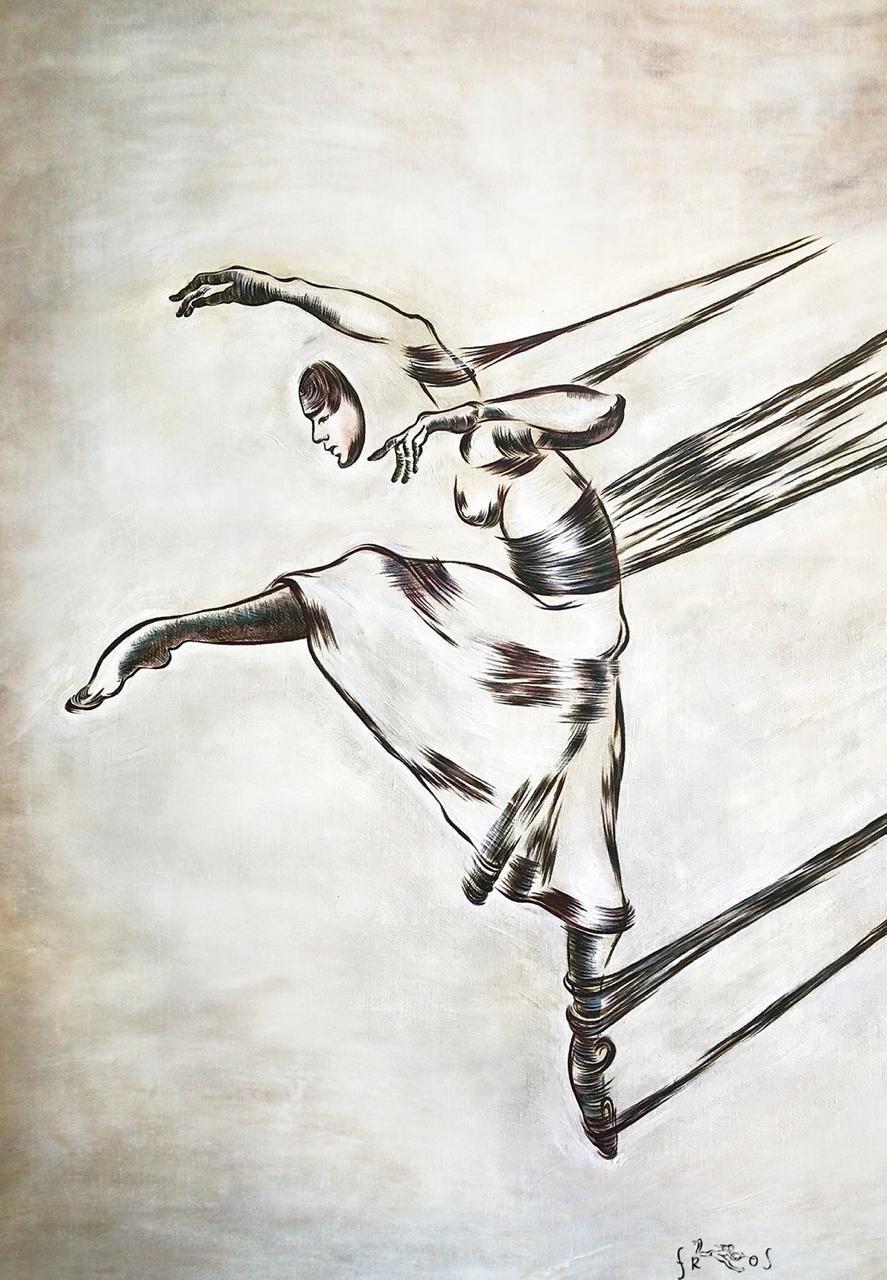 "Contemporary mixed-media painting ""Fly"", light grey oil, acrylic, pen on canvas"