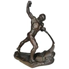 Evgeniy Vuchetich 'Let Us Beat Swords into Plowshares' Soviet Bronze Sculpture
