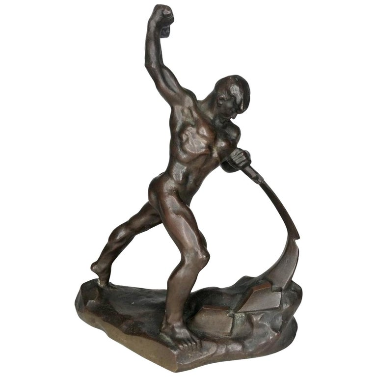 Evgeniy Vuchetich 'Let Us Beat Swords into Plowshares' Soviet Bronze Sculpture For Sale