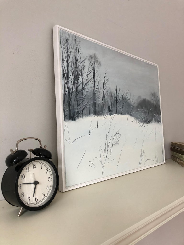 First snow-landscape paiting, made in white, black, grey color - Painting by Evgeniya Buravleva