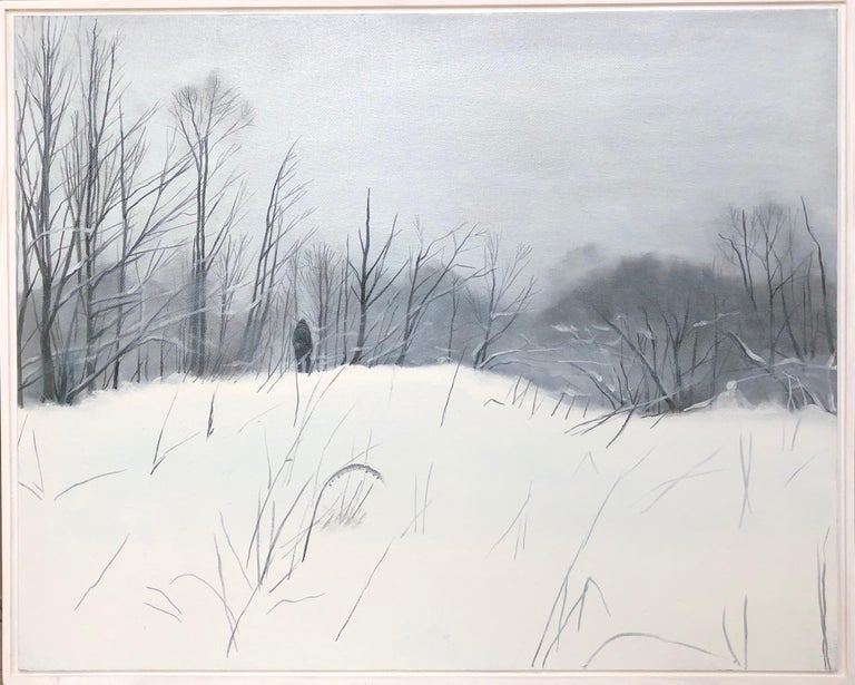 Evgeniya Buravleva Abstract Painting - First snow-landscape paiting, made in white, black, grey color