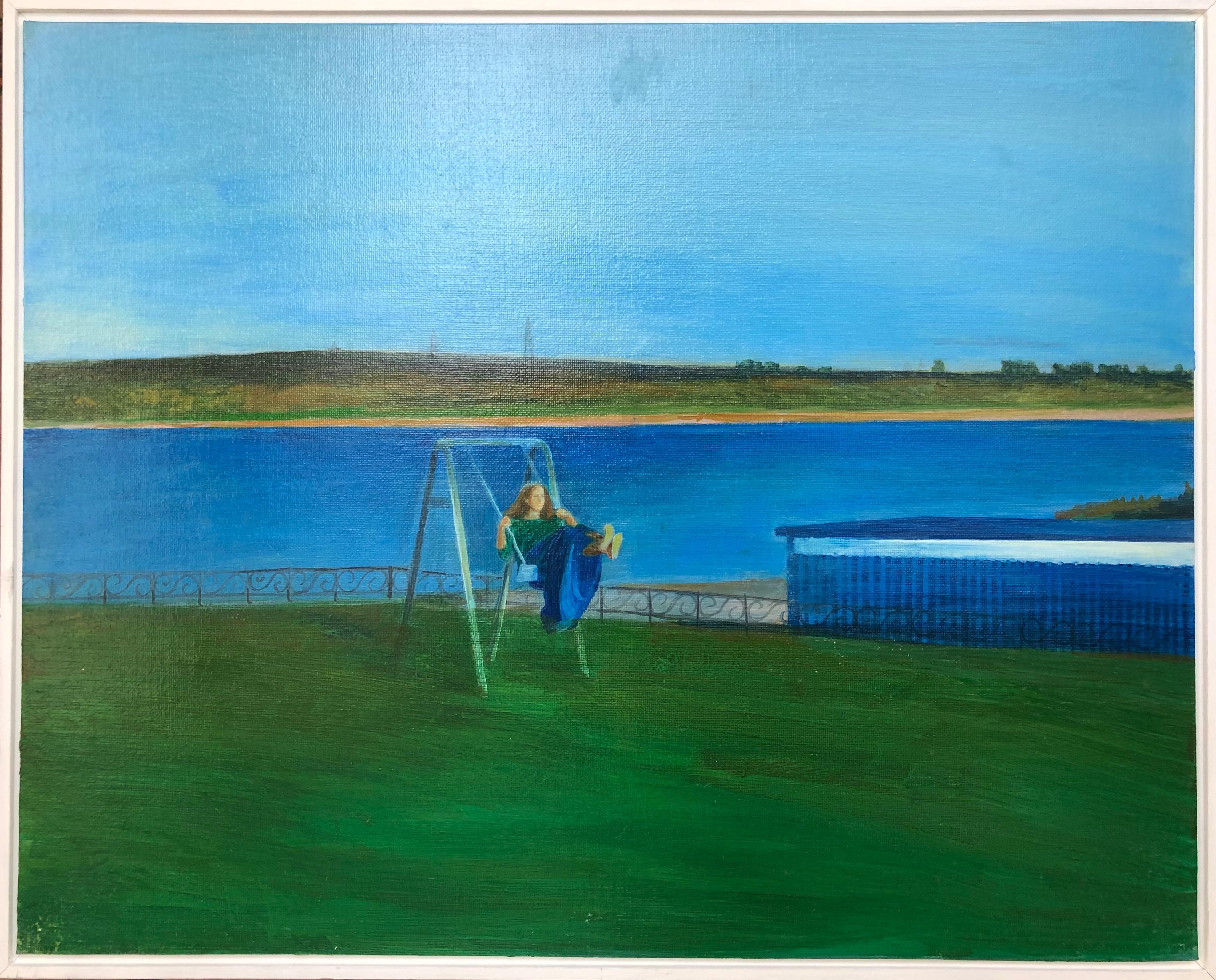 Swing-landscape, canvas on cardboard, oil, framed, made in green, blue color