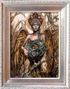 """Figurative Pop Surrealist Painting, """" A Nest Of a Firebird"""""""