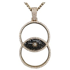 Evil Eye Black and White Diamond Big Pendant