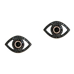 Evil Eye Black Diamond Earrings, White Gold, Ben Dannie