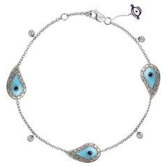 Evil Eye Bracelet 18K White Gold 2.37ct. White Diamond & Sapphire Talisman