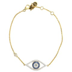 Evil Eye Bracelet with Blue Sapphire & Diamond in 18 Karat Yellow Gold