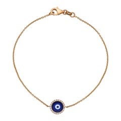 Evil Eye Chained Bracelet 0.80 Carat 18 Karat Gold Diamond Bracelet
