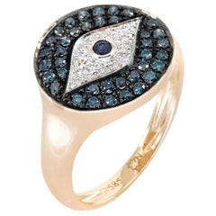 Evil Eye Deep Blue Sapphire 14 Karat Pink Gold Diamond Pinkie Ring for Her