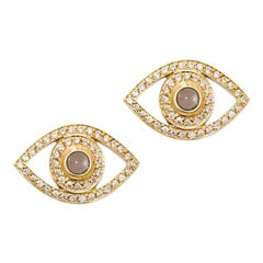 Evil Eye Diamond and Quartz Earrings, White Gold, Ben Dannie