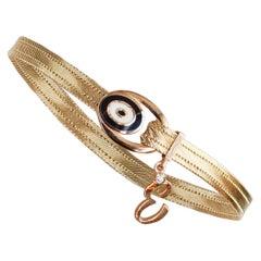 Evil Eye Diamond E Initial Hand Knitted Wickerwork Bracelet 14 Karat Yellow Gold