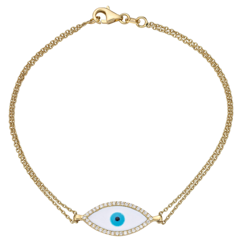 Evil Eye Double Chained Bracelet 0.13 Carat 14 Karat Gold Diamond Bracelet