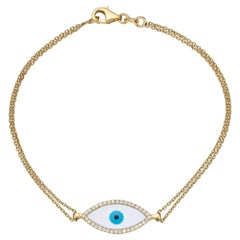 Evil Eye Double Chained Bracelet 0.13 Carat 14 Karat Gold Diamond Bracelet