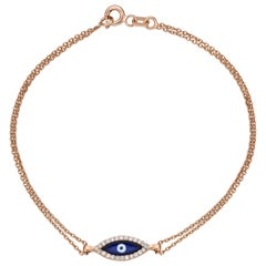 Evil Eye Double Chained Bracelet 0.90 Carat 14 Karat Gold Diamond Bracelet