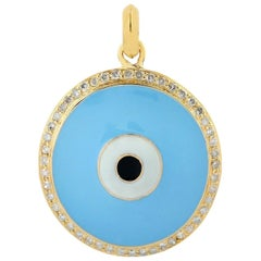 Evil Eye Enamel Diamond 18 Karat Gold Pendant Necklace