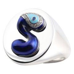 Evil Eye ID Signet Ring S Initial, 14k White Gold, Handcrafting Blue Enamel