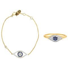 Evil Eye Ring & Bracelet with Blue Sapphire & Diamond in 18 Karat Yellow Gold
