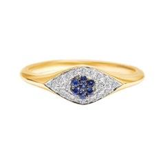 Evil Eye Ring with Blue Sapphire & Diamond in 18 Karat Yellow Gold