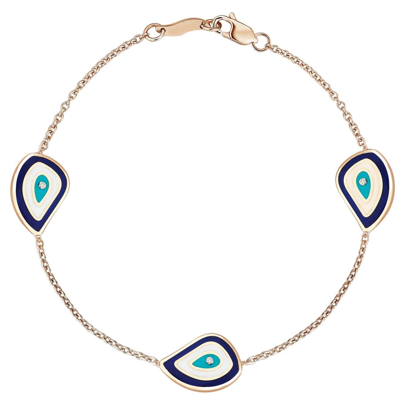 Evil Eye Tennis Bracelet 18K Gold White Diamond & Blue Turquoise White Enamel