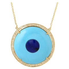 Evil Eye Turquoise Lapis Diamond 18 Karat Gold Pendant Necklace