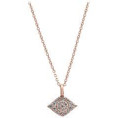 Evil Eye White Diamond Round Rose Gold Fashion Drop Pendant Chain Necklace