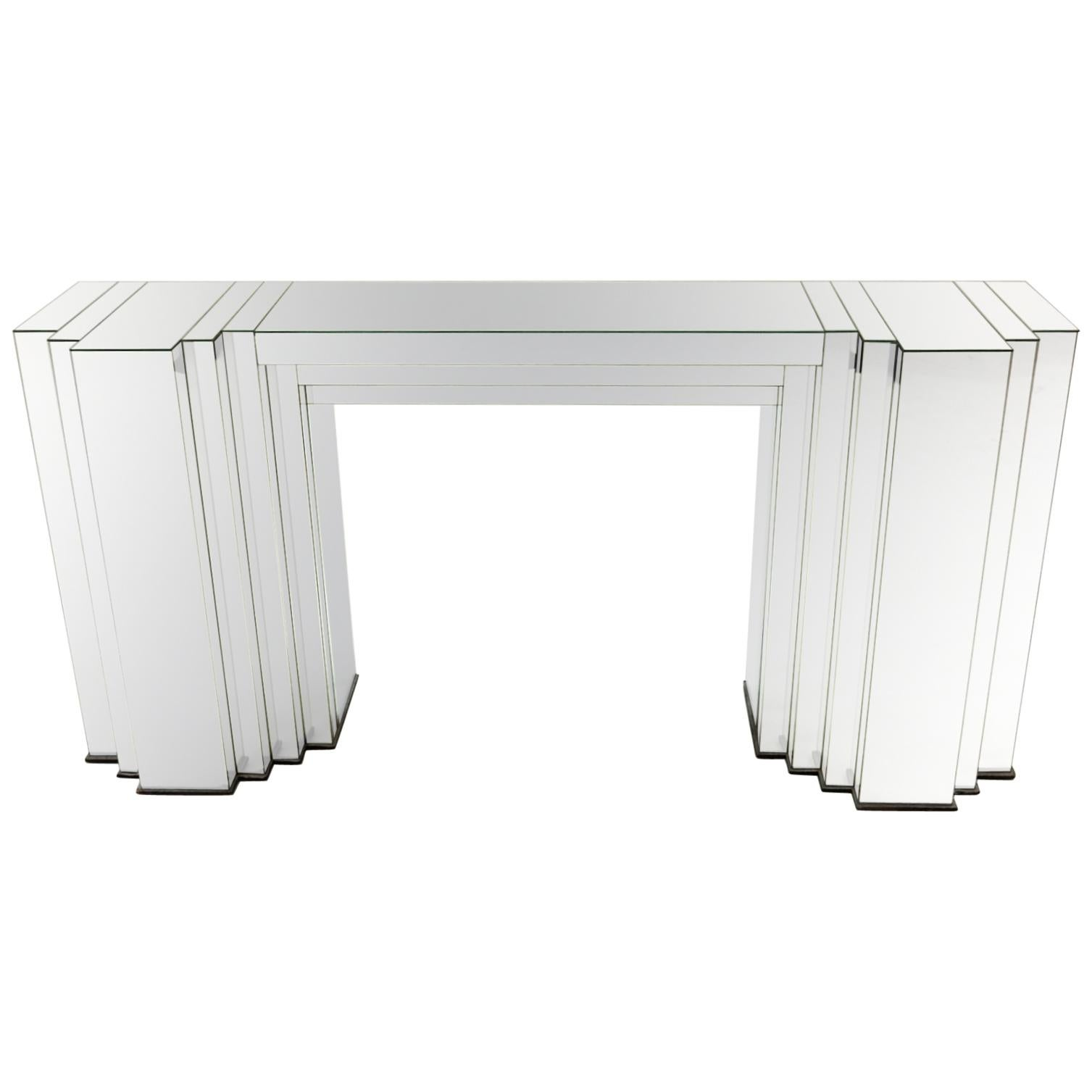 Evocative Art Deco Multifaceted Mirror Console Table