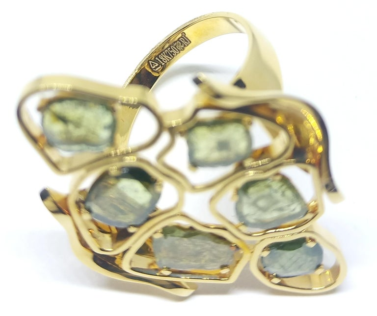 Evoke Awe with Contemporary Green Uncut Diamond 18K Green Gold Cocktail Ring For Sale 1