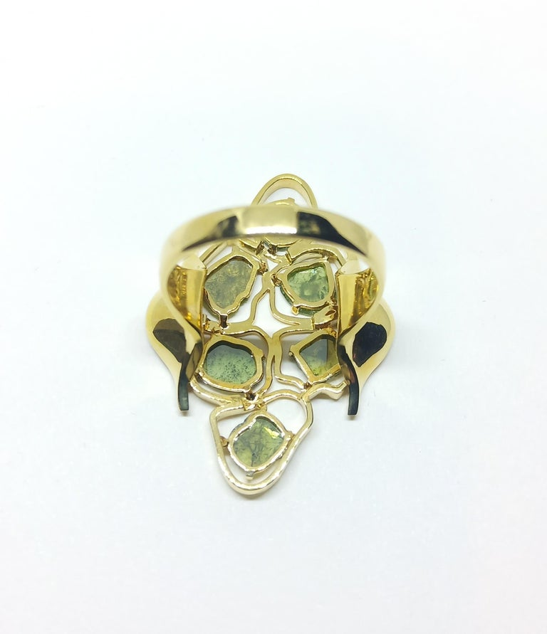 Evoke Awe with Contemporary Green Uncut Diamond 18K Green Gold Cocktail Ring For Sale 2
