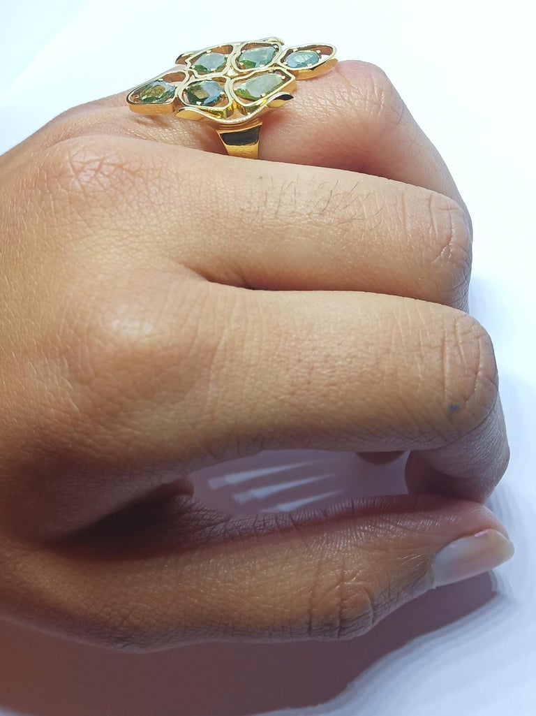 Evoke Awe with Contemporary Green Uncut Diamond 18K Green Gold Cocktail Ring For Sale 5