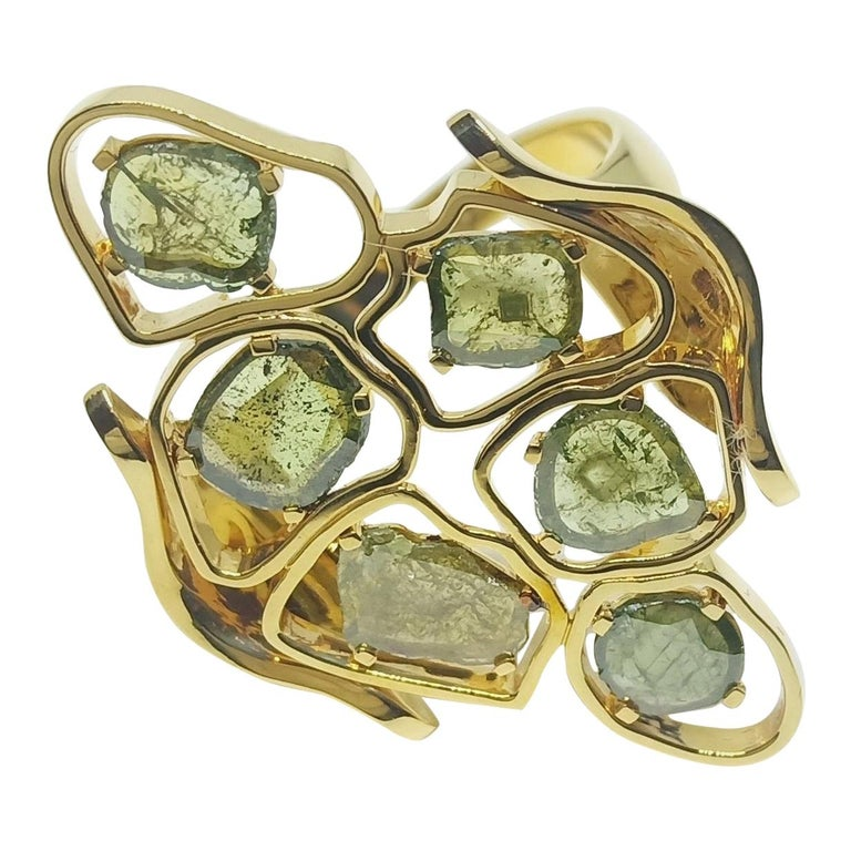 Evoke Awe with Contemporary Green Uncut Diamond 18K Green Gold Cocktail Ring For Sale