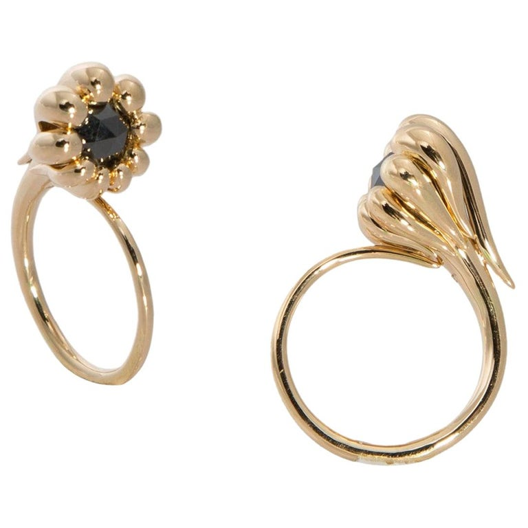 Evoke Awe with Contemporary One of a Kind Black Diamond 18 Karat Gold Ring For Sale