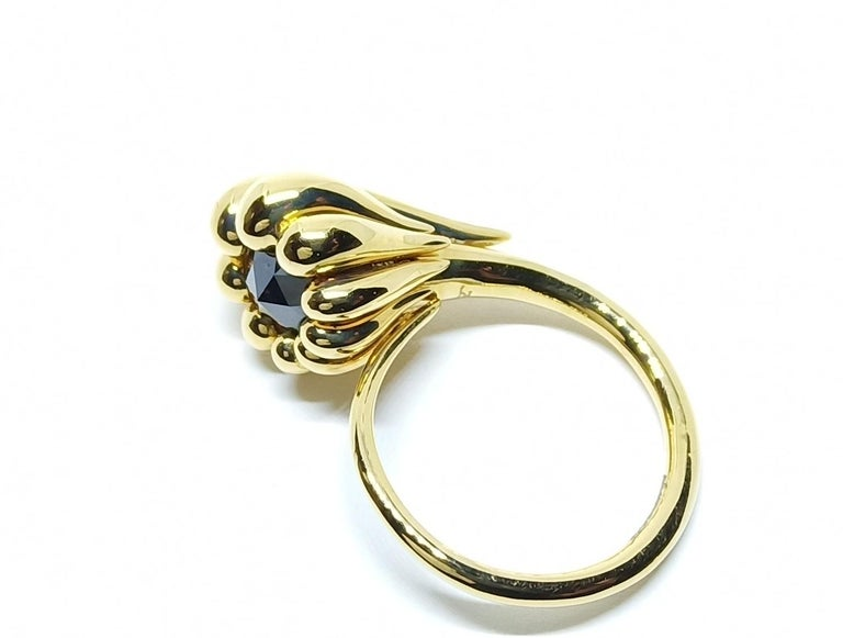 Rose Cut Evoke Awe with Contemporary One of a Kind Black Diamond 18 Karat Gold Ring For Sale