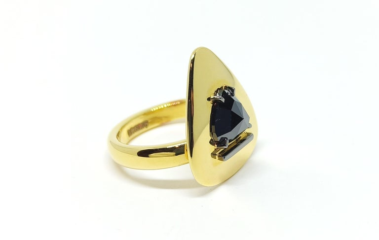 Evoke Awe from the love of your life. This One-of-a-Kind Ring makes her feel 'Out of this World'. The detailing conveys your caring for her.  An elegant 18 Karat Green Gold Ring featuring a solitaire Black Rose cut Diamond weighing 1.33 carats on