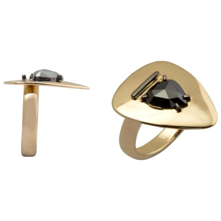 Evoke Awe with Contemporary One of a Kind Black Rosecut Diamond Green Gold Ring For Sale