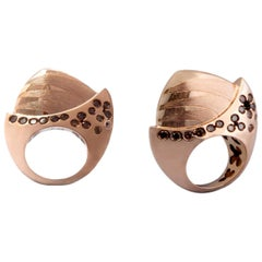 Evoke Awe with Contemporary One of a Kind Brown Diamond Rose Gold Cocktail Ring