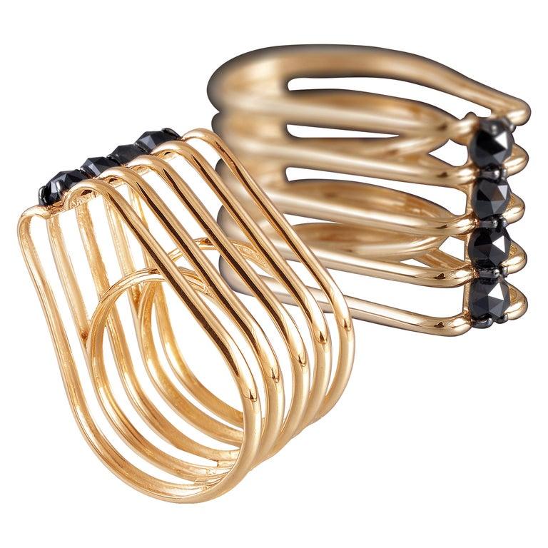 Evoke Awe with One of a Kind Black Diamond 18 Karat Yellow Gold Fashion Ring For Sale