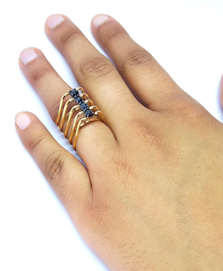 Contemporary Evoke Awe with One of a Kind Black Diamond 18 Karat Yellow Gold Fashion Ring For Sale