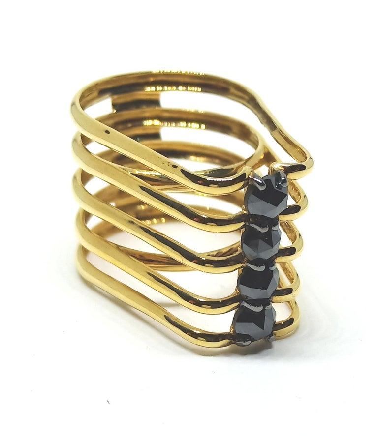 Evoke Awe with One of a Kind Black Diamond 18 Karat Yellow Gold Fashion Ring For Sale 2