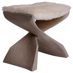 Evolution Stool Hand Carved and Cerused Sculptural Stool in Sapele