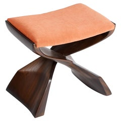 Evolution Stool Hand Carved Sculptural Stool in Sapele, Finish in Sapele Traite