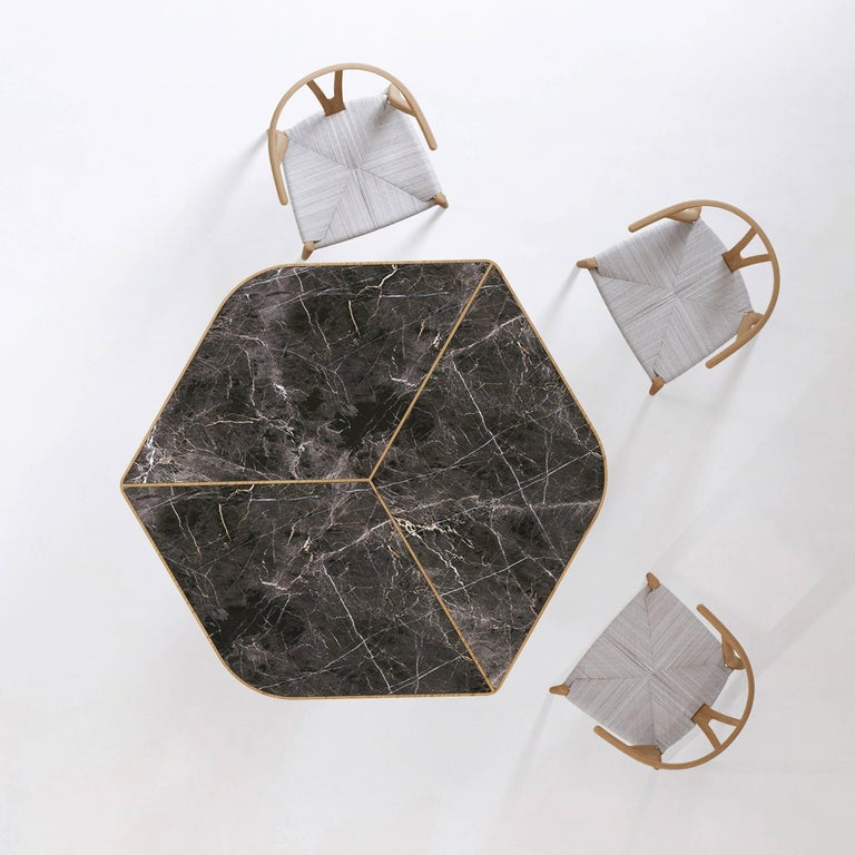 Minimalist Evolve Marble, Wood, Dining Table 21st Century, Modern For Sale