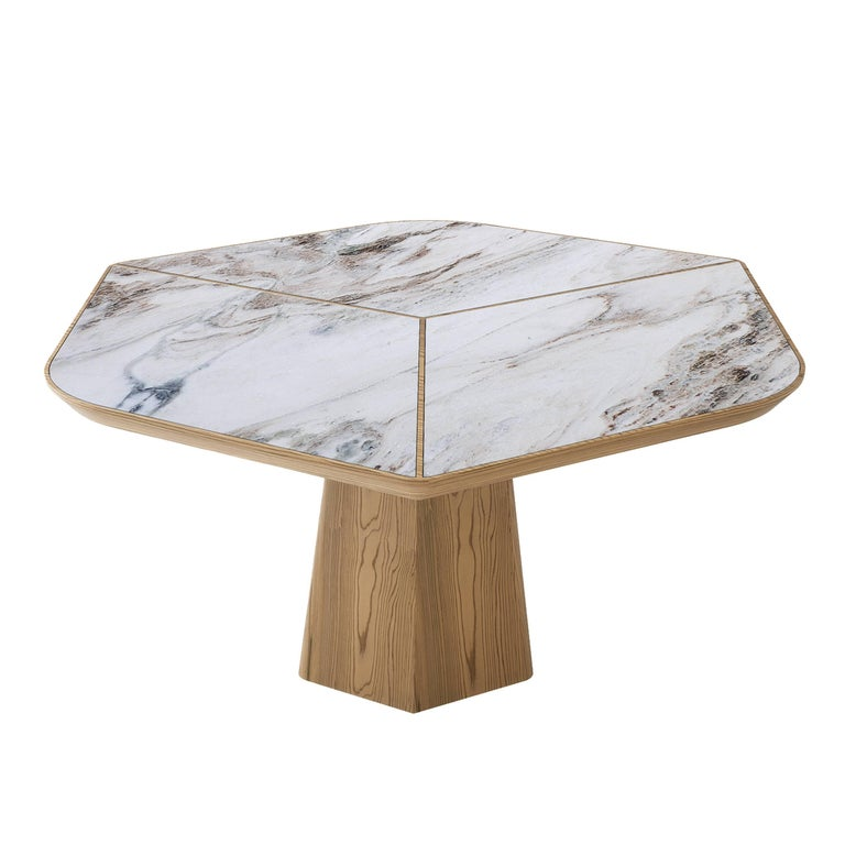 Hand-Crafted Evolve Marble, Wood, Dining Table 21st Century, Modern For Sale