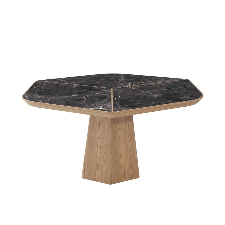Evolve Marble, Wood, Dining Table 21st Century, Modern For Sale