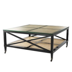 Evora Coffee Table in Black Lacquered Solid Mahogany Wood