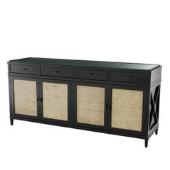Evora Sideboard in Black Lacquered Solid Mahogany Wood