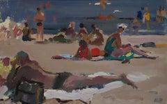 """""""Beach""""Summer gouache cm. 42 x 28  1972"""