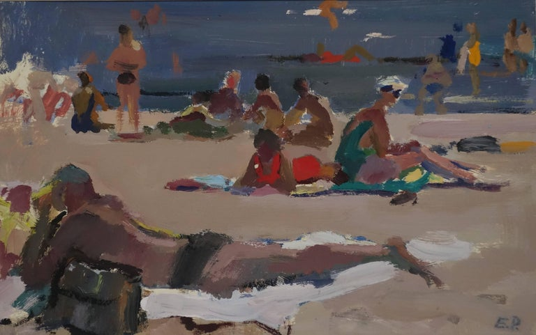 "Evsey Reshin Landscape Painting - ""Beach""Summer gouache cm. 42 x 28  1972"