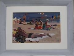 """""""Beach"""" gouache cm. 42 x 28  1972"""