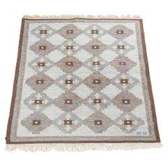Evy Svensson Midcentury Swedish Flatweave Rug-Carpet, Hand Woven Wool, 1950s