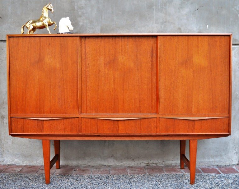 Danish Buffet Credenza : E.w. bach danish teak three sliding door taller buffet credenza for